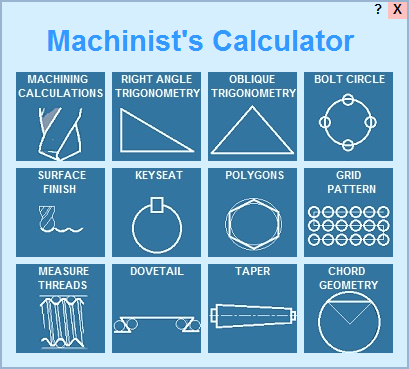 Shop math calculator software for machinists