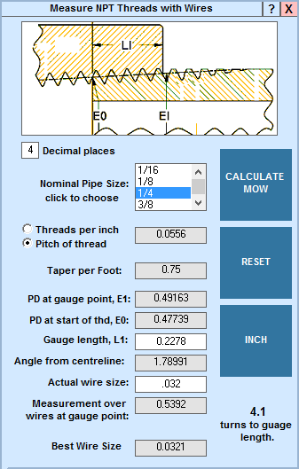 National Pipe Thread : Machinist s calculator measure npt threads