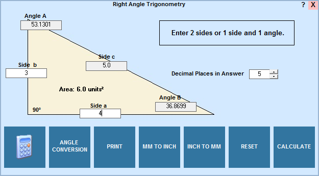 Right angle trig calculator